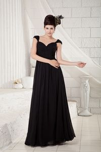 Cap Sleeves Empire V-neck Ruched Black Chiffon Mother of the Bride Dresses