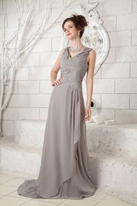 Grey V-neck Ruched Brush Train Mother Bride Dress for Discount