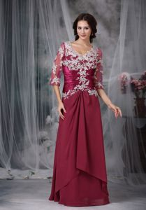 3/4-length Sleeves V-neck Ruched Appliqued Mother Bride Dresses