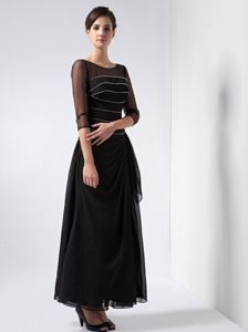 Ankle-length Beaded Chiffon Scoop Black Dresses for Bride Mother
