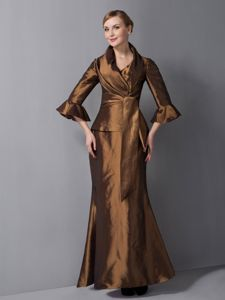 V-neck Ankle-length Rust Colored Taffeta Mother of Bride Dresses