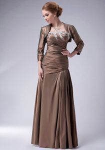 Strapless Appliqued Ruched Chocolate Dresses for Bride Mother