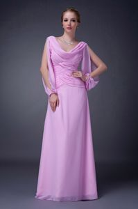 Draped Neck Cutout Sleeves Ruched Pink Mother of Bride Dress