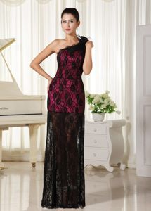 Lace Black and Red One Shoulder Long Dresses for Bride Mother