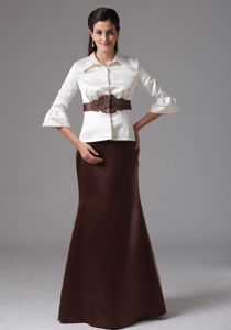 New Flounced Sleeves White and Brown Mother of the Bride Dress with Collar