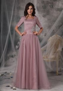 Square Half Sleeves Beading Floor-length Mother of Bride Dresses