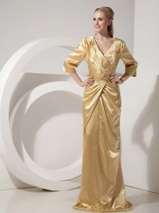 V-neck 3/4-length Sleeves Ruched Golden Mother of Bride Dresses