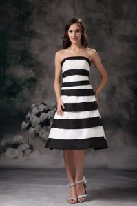 Strapless Black and White Strips Accent Mother of the Bride Dresses