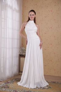 Elegant High Neck Ruched Floor-length White Mother Bride Dress