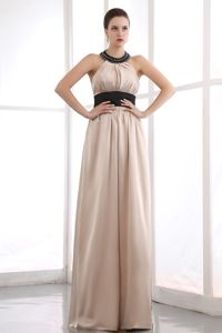 Beading Black Sash High Neck Champagne Mother of Bride Dress