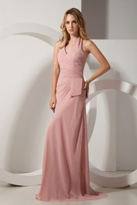 V-neck Halter Light Pink Ruched Chiffon Dresses for Bride Mother