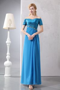 Beading Ankle-length off the Shoulder Mother of the Bride Dresses
