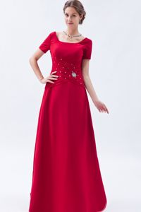 Beading Square Neck Short Sleeves Red Mother of Bride Dresses