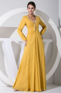 Pear Accent V-neck Long Sleeves Yellow Mother of Bride Dresses