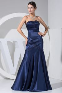 Appliques Beaded Strapless Navy Blue Mother of the Bride Dresses