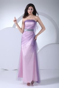 Silver Sash Strapless Ankle-length Lilac Mother of the Bride Dress