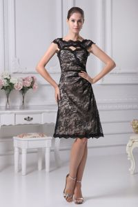 Bateau Cutout Knee-length Black Lace Dresses for Bride Mother