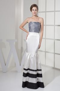 Strips Decorate Strapless Black and White Mermaid Mother of the Bride Dress