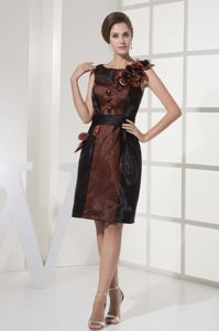 Knee-length Hand Made Flower Brown Mother of the Bride Dress with Black Sash