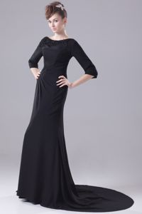 3/4-length Sleeves Bateau Beading Brush Train Mother Bride Dress