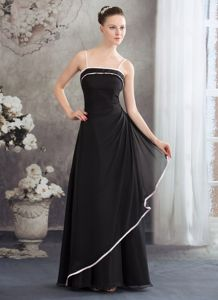 Black Mother Bride Dress with Pink Spaghetti Straps and Edge