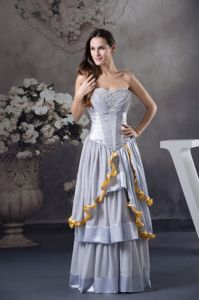 Beaded and Ruched Grey Mother Bride Dresses with Ruffles