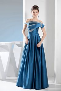 Off-the-shoulder Floor-length Mother Bride Dress Ruches Beading