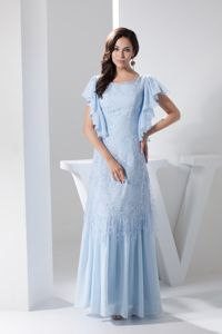 Ruffled Short Sleeves Scoop Ankle-length Mothers Outfit in Blue