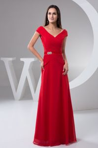 Ruched Red Floor-length Mother Bride Dress Off the Shoulder