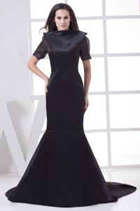 Black High-neck Mermaid Mother Bride Dress with Chapel Train