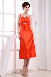 Spaghetti Tea-length Orange Red Mother of the Bride Dresses in Taffeta