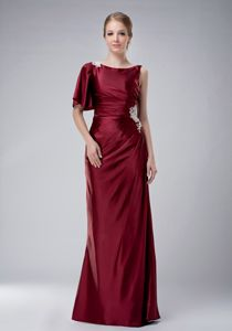 Burgundy Bateau Floor-length Mothers Outfit with Appliques