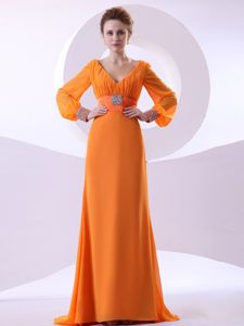 V-neck Beaded and Ruched Mothers Outfit Orange Brush Train
