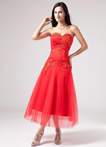 Red Sweetheart Mother Bride Dress with Beading Appliques