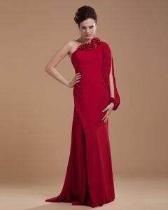 Chiffon Brush Train 2013 Mother of the Bride Dresses Wine Red Hand Flowers