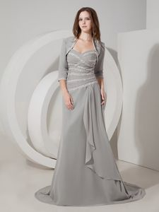 Grey Sweetheart Chiffon Mother Bride Dress with Brush Train