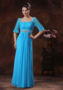 Beaded Sky Blue Mother Of The Bride Dress with Long Sleeves
