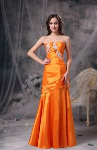 Sweetheart Mother Bride Dress Orange Taffeta with Appliques