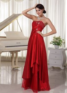 A-line Mother Bride Dress Wine Red with Embroidery Floor-length