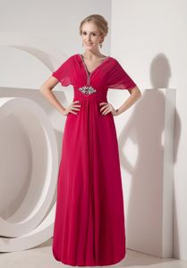 Coral Red Column Chiffon Mother of the Bride Dresses with Beading V-neck