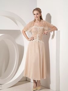 Champagne Strapless Tea-length Chiffon Mothers Outfit Appliques