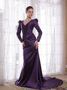 V-neck Brush Train Taffeta Mother of the Bride Dress Dark Purple