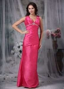 Coral Red V-neck Ankle-length Taffeta Beaded Mothers Outfit