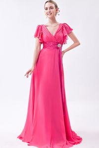 V-neck Mother of the Bride Dresses Hot Pink Chiffon with Ruches Brush Train