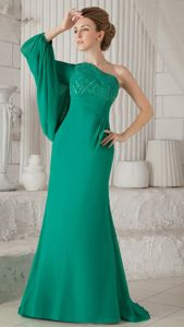 Dark Green One Shoulder Mother Bride Dress with Beading