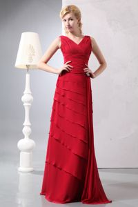 V-neck Ruched Red Mother Bride Dress Floor-length Chiffon