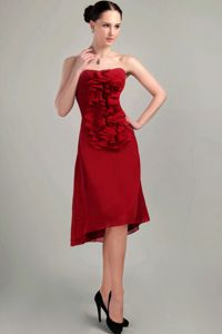 Sheath Strapless Asymmetrical Chiffon Mother of the Bride Dress Wine Red