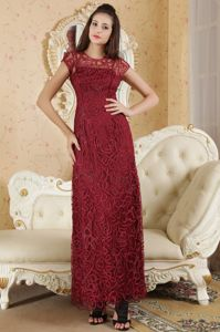Bateau Ankle-length Beaded Mother Of The Bride Dress Burgundy
