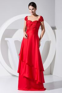 Ruched Sweetheart Red Mother Bride Dresses with Cap Sleeves