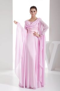 Cowl Neck Mother of the Bride Dress Pink for Wedding with Beading